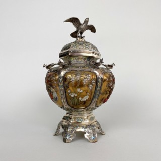 An exceptional Silver and Shibayama style Japanese Koro