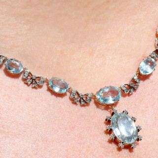 15.54ct Aquamarine and 0.69ct Diamond, 10ct Yellow Gold Necklace - Antique Victorian