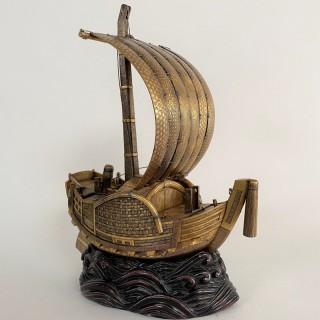 A wonderful Meiji-era Iron replica of a sail boat