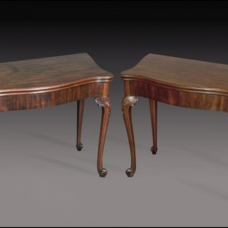 Pair late George II mahogany CARD TABLES