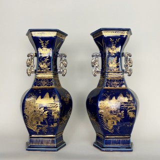 A large and eye-catching pair of Chien Lung Powder blue vases