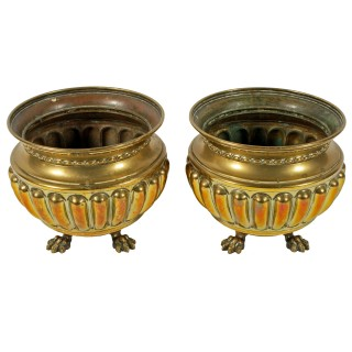 Pair of Large Edwardian Brass Planters