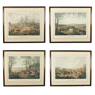 Impressive set of Four Georgian Essex Hunt Prints