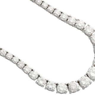 11.66ct Diamond and 18ct White Gold Necklace - Vintage Circa 1990
