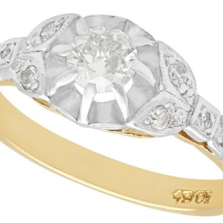 0.35 ct Diamond and 18 ct Yellow Gold Solitaire Ring - Antique Circa 1920