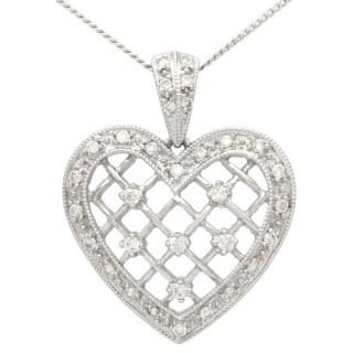 0.28 ct Diamond and 18 ct White Gold Heart Pendant - Vintage Circa 1960