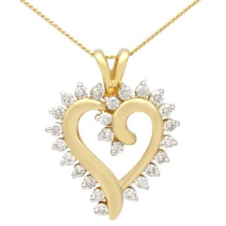 0.39 ct Diamond and 18 ct Yellow Gold Heart Pendant - Vintage Circa 1980