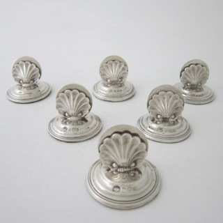 A set of six Antique Edwardian Sterling silver menu/place card holders