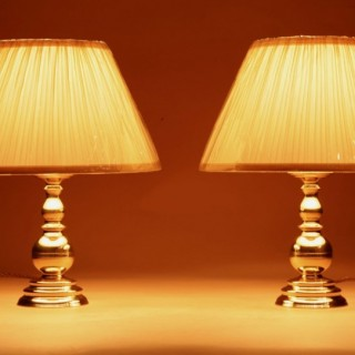 A Pair Of Very Decorative Solid Brass Candlesticks Now As Table Lamps.