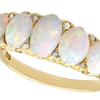 1.88ct Opal and Diamond, 18ct Yellow Gold Five Stone Ring - Antique Victorian