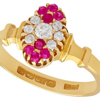 0.28 ct Diamond and 0.24 ct Ruby, 18 ct Yellow Gold Dress Ring - Antique Edwardian 1905