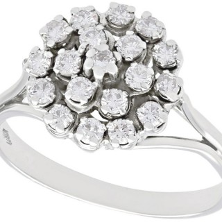 0.60 ct Diamond and 18 ct White Gold Cluster Ring - Vintage Circa 1970