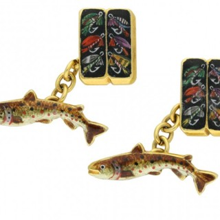 Vintage enamel trout fly fishing cufflinks by Alabaster & Wilson, English, circa 1961.