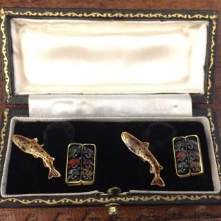 Vintage enamel trout fly fishing cufflinks by Alabaster & Wilson, English, circa 1961.