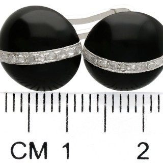 Black Onyx and 0.33ct Diamond, 18ct White Gold Cufflinks - Art Deco - Antique Circa 1920
