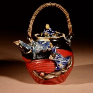 An Amusing Sumida Gawa Japanese Teapot Meiji period Circa 1910