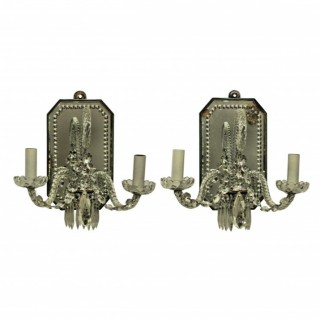 A PAIR OF FRENCH CUT GLASS GIRANDOLE WALL LIGHTS