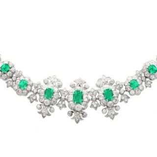 9.39ct Diamond and 4.10ct Emerald, 14ct White Gold Necklace - Vintage Circa 1940