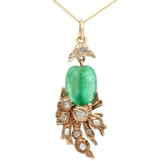 Emerald and 0.52 ct Diamond, 9 ct Yellow Gold Pendant - Antique Victorian