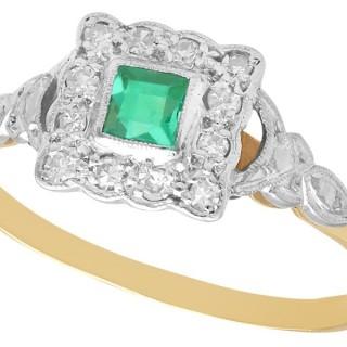 0.21 ct Emerald and 0.12 ct Diamond, 18 ct Yellow Gold Dress Ring - Antique Circa 1900