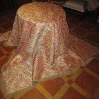 A Russian silk coverlet