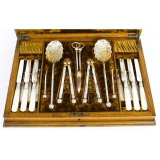 Antique Boxed Fruit Set Forks Knives Nutcrackers, Grape Scissors Etc 19th C