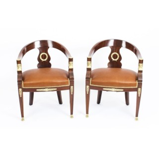 Antique Pair Second Empire Mahogany Tub Arm Desk Chair c.1860