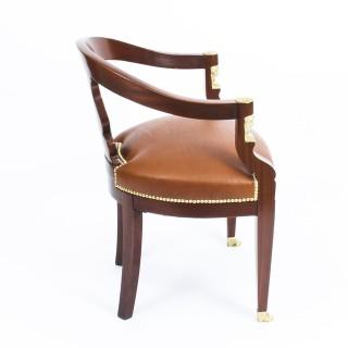 Antique Pair Second Empire Mahogany Tub Arm Desk Chair c.1860