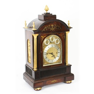 Antique Brass Inlaid Goncalo Alves Musical Boardroom Clock 19th C