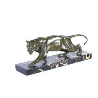 Antique Patinated Bronze Prowling Lioness by Biagini Circa 1920