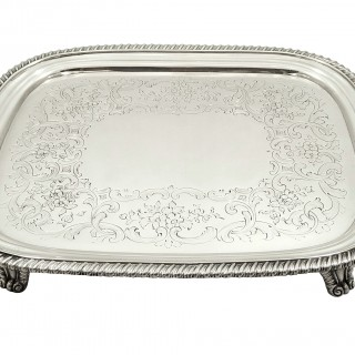 Antique Georgian Sterling Silver Tray / Salver 1818
