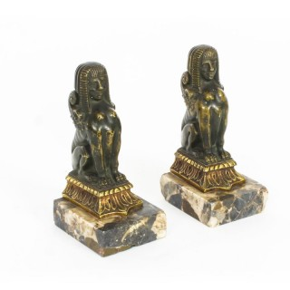 Antique Pair Patinated Bronze Sphinx Library Bookends 19th Cent
