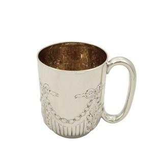 Antique Victorian Sterling Silver Christening Mug / Tankard 1893