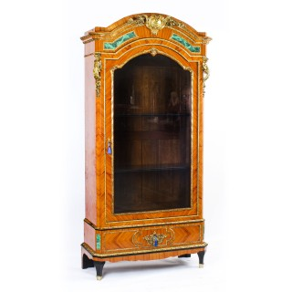 Antique French Kingwood Malachite & Ormolu Mounted Vitrine Cabinet 19th C