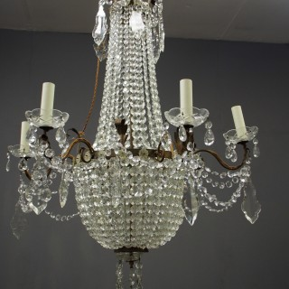 Cut Crystal Tent and Bag Chandelier