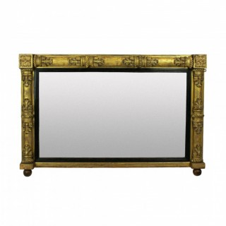 A WILLIAM IV GILT WOOD OVER MANTLE MIRROR