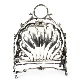 Antique Victorian Silver Plated Shell Biscuit Box Walker & Hall 19thC 1888