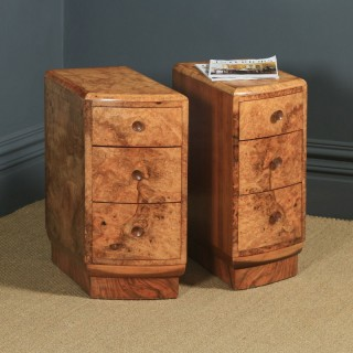 Antique English Pair of Art Deco Burr Walnut Bedside Chests Tables Nightstands (Circa 1930)