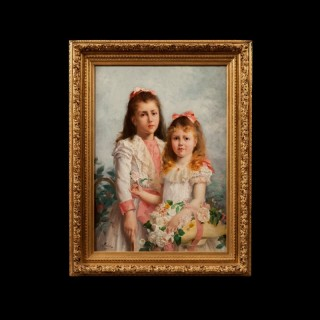 'The Sisters' by Louis Adolphe Tessier, Oil on Canvas