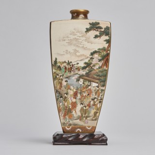 A large square form Japanese satsuma vase