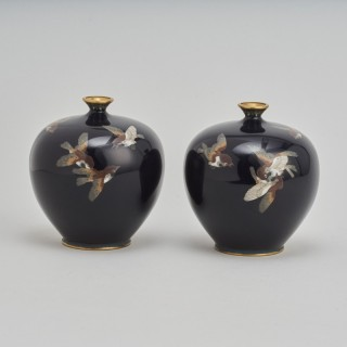 A pair of miniature Japanese Meiji Period Cloisonne vases decorated with Sparrows