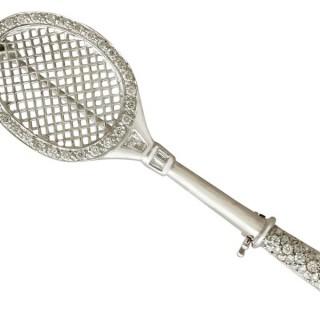 0.85ct Diamond and 18ct White Gold 'Tennis Racket' Brooch - Vintage Circa 1980