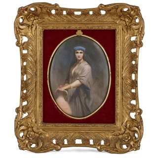 Porcelain plaque painted with Orientalist figure by K.P.M.