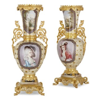 French porcelain and gilt bronze vases in the Chinoiserie style