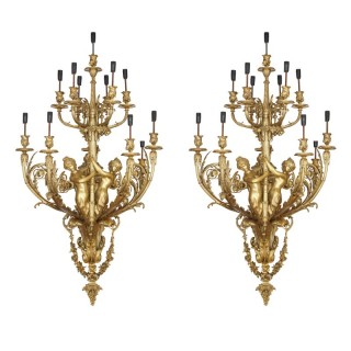 Large French gilt bronze wall sconces