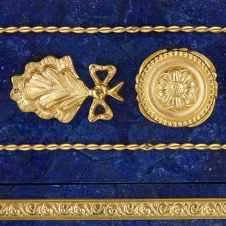 French gilt metal mounted lapis commode in the Empire style