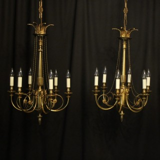 French Gilded Pair 6 Light Antique Chandeliers