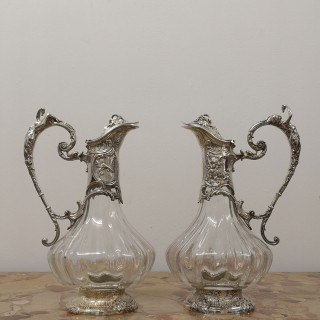 PAIR OF FRENCH SILVER PLATED CLARET JUGS