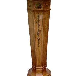 EDWARDIAN PAINTED SATINWOOD PEDESTAL
