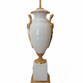 EARLY 20th CENTURY FRENCH OPALINE AND GILT BRONZE LAMP